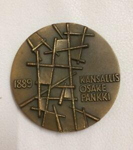 Large Bronze Heikki Häiväoja Medal 75 Years Of KOP Bank Finland 1889-1964