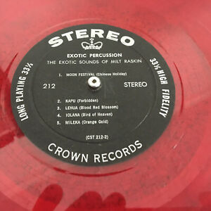 EXOTIC PERCUSSION Sounds of Milt Raskin CROWN Red Wax STEREO Lp Vinyl Record