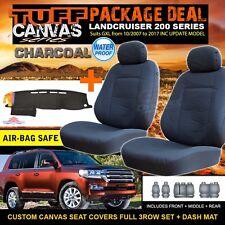 TUFF CANVAS SEAT COVERS + DASH MAT Landcruiser 200 Series 3ROW GXL 9/2015-2017