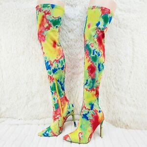 Mark Multicolor Stretch Pointy Toe Stocking High Heel Thigh High Boots 7-11