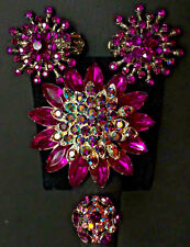 Purple Rhinestone Broach Pin Necklace * Clip-On Earrings * Adjustable Ring * NEW