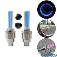 2Pcs Blue LED Wheel Valve Cap Light Tire Rim Flash Lamp For Motorcycel Cars Bike