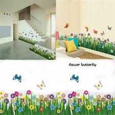 Removable Butterfly Flower Grass Wall Stickers Border Decal Home Window Decor To