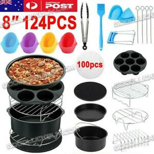 """124PCS 8"""" Air Fryer Accessories Rack Cake Pizza Oven Barbecue Frying Pan Tray"""