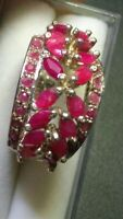 RAVISHING NATURAL RUBIES IN STERLING SILVER.925 BOUQUET RING SIZE 6.75-7.0