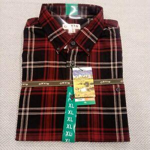 Orvis Men's Tartan Twill Long Sleeve plaid stripe button down casual Shirt  Red