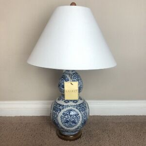 Ralph Lauren Large Koi Fish Porcelain Blue Ceramic Round Table Lamp w/ Shade NWT