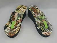 Just Earl Holly Women's Thong Sandal Vogue Graphic Print Flip Flop Wedges