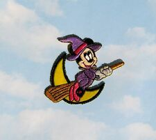 Iron On Embroidered Minnie Mouse Witch On Broomstick Applique - Patch - IR5