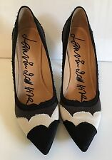 Lanvin Black White Gray Satin High Hell Pump Size 39 US 8.5