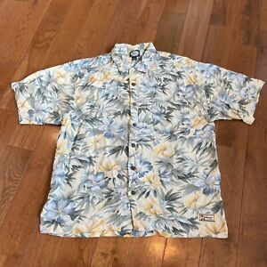 Mens Tommy Bahama Button Shirt Ivory Blue Yellow Floral Tropical 100% Rayon Sz L