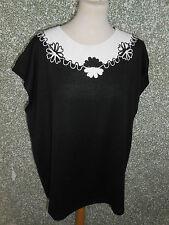 20 218/05 toller Damen Strick Pullover Pulli Top ärmellos schwarz weiß Gr. 48 50
