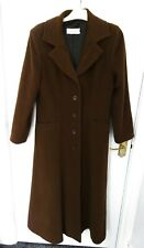 ❤ ERICH FEND Size 12 Brown Long Button Up Coat Wool Cashmere Blend Pockets Lined