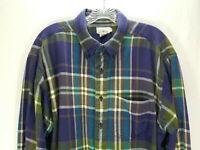 J.Crew Men's Shirt Flannel Plaid Sz L Purple Green Blue Long Sleeve Button Up