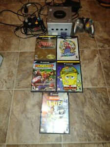 GameCube with games and 2 controllers