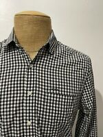 Shipley & Halmos Men's Dress Shirt Gingham Black White Size Medium