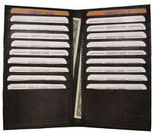 Long Cow Genuine Leather 20 Slots Credit Card Holder with Hide Money Tall Wallet