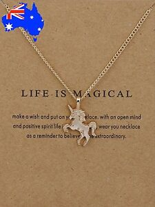 Dogeared Life is Magical Unicorn Gold Dipped Pendant Necklace +Gift Pouch & Card