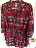 Woman's plus size 14-16W Catherines red multicolored 3/4 sleeve h/l blouse