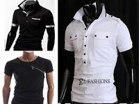 New Mens Short Sleeve Polo Top Shirt/T-Shirt 100% Cotton UK size S/M/L/XL/XXL