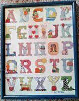 VINTAGE NEEDLE WORK CROSS STITCH SAMPLER ANIMAL ABC'S WALL HANGING 14x12