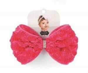 Mud Pie Pink Layette Baby Girl Pink Rosette Bow Soft Hair Headband 1512056