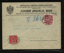 Austria   postage due stamp  on  cover local use  on ad cover      EX1111