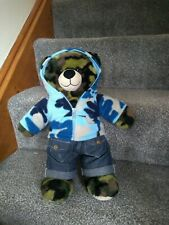 Build A Bear Camo Bear with Camoflage Pattern Jacket, Boxers & Jeans BAB 16 ins