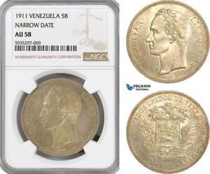"""AG442, Venezuela, 5 Bolivares 1911, Paris, Silver, """"Narrow Date"""" NGC AU58"""