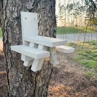 Squirrel Feeder Picnic Table - WHITE in Color - Solid Wood - Made In USA