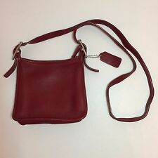 Handcrafted Soft Dark Red Cowhide Leather Coach Purse - No. H23-6610
