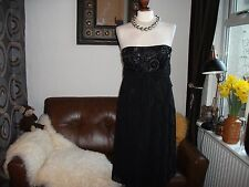 Gorgeous DEBUT DEBENHAMS black embellished jewelled cocktail evening ball dress