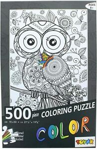 Toynk Owl 500 Piece Coloring Jigsaw Puzzle + 6 Markers