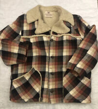 New listing Vintage Dee Cee Ranchwear Men's Plaid Sherpa Lined Coat Jacket Usa 60's Xl 44