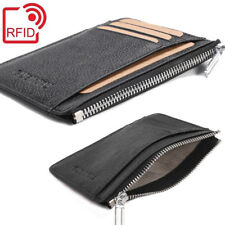 RFID Slim Mens Zipper Zip Wallet Real Leather ID Card Coin Slot Thin Holder Case