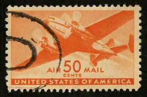 US 1941 #C31 - 50c Twin Motored Transport Air Mail Stamp Used XF-Superb