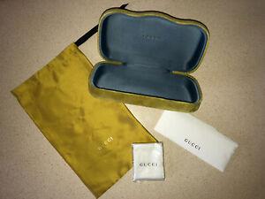 NWB Gucci Sunglasses/Eyeglasses Large Green Lime Velvet Hard Shell Case/Clutch