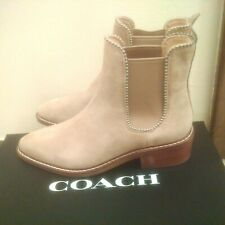 Coach Bowery Bead Chain Tan (oat) Suede Bootie  New 8.5