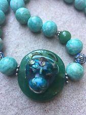 Antique Chinese Silver Enamel Pendant Amazonite Bead Necklace