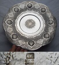 Antique Middle Eastern Persian Solid Silver Islamic Centerpiece Tazza Dish 646gr