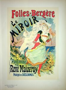 Cheret: All Folies-Bergères: The Mirror - Lithography Original, Signed, 1899