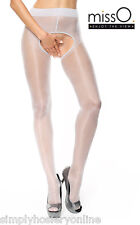 Miss O Open Crotch Seamed Suspender Tights P211 Silver XXL