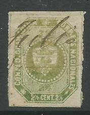STAMPS-COLOMBIA. 1859. 2½c Olive Green. 4 Large Margins. SG: 1a. Used Pen Cancel