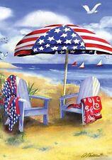 #93A PATRIOTIC AMERICAN BEACH  FRIENDS SHORE  SUMMER  HOUSE FLAG 28X40 BANNER