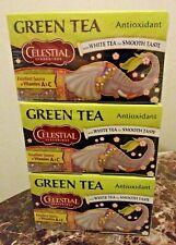 3x Celestial Seasonings Antioxidant Green Tea Bags + White Tea 20 Ct Sealed 4/22
