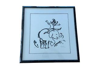 """Edna Hibel,  """"Elephant"""" Rare Signed, Matted & Framed Serigraph Print 9/25"""