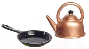DOLLHOUSE Skillet and Kettle 1:12 Scale Miniature