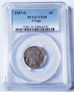 1937-D 3 LEGGED BUFFALO NICKEL PCGS VF30 KEY DATE NICE COIN!