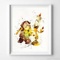 Cogsworth Lumiere Beauty and Beast Wall Art Disney Watercolor Poster UNFRAMED