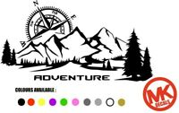Compass with Trees & Mountains Vinyl Decal Navigation Sticker Van Motorhome